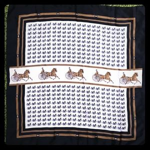Vintage Black/Gold Stagecoach Print Square Scarf